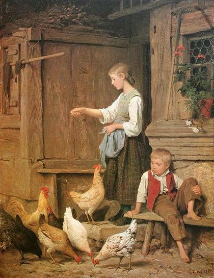 Albert Anker - Garota alimentando galinhas