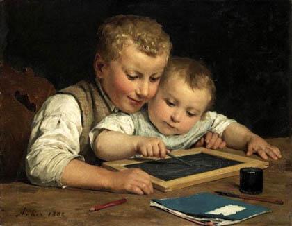 Albert Anker - Duas crianças com uma lousa