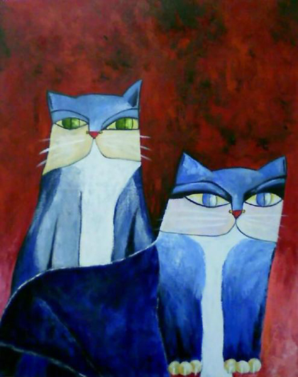 Aldemir Martins - Dois Gatos Azuis