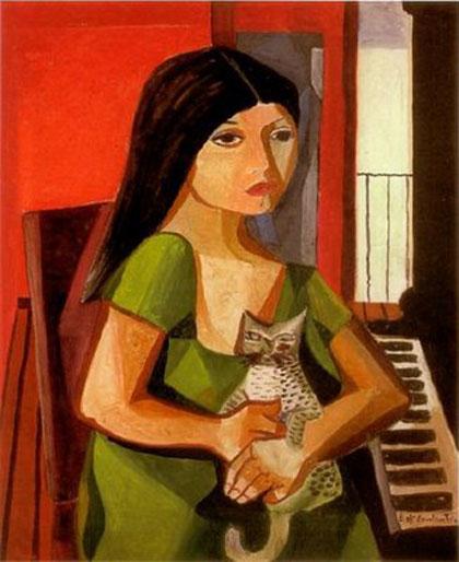 Di Cavalcanti - Menina com gato e piano (1967)