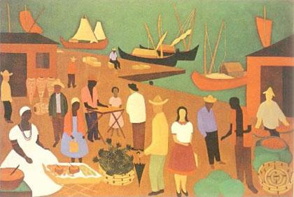Djanira - Vendedores em um cais da Bahia