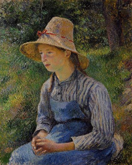 Pissarro - Jovem Camponesa com Chapeu de Palha-1881
